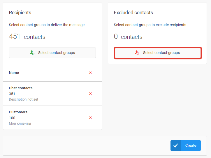 Select excluded contacts