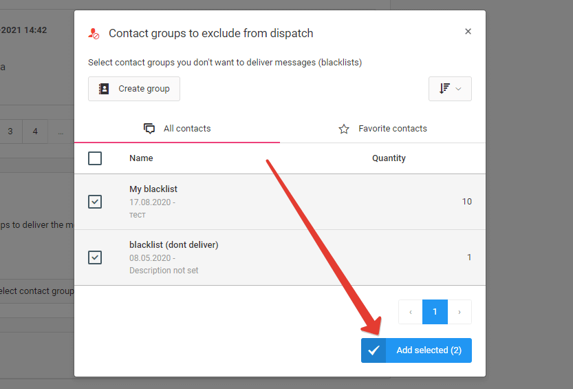 Add selected blacklists