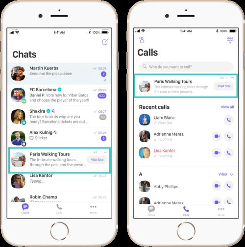 Реклама в Viber, формат Main chat screen и Calls tab