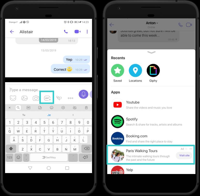 Реклама в Viber, формат Chat extensions