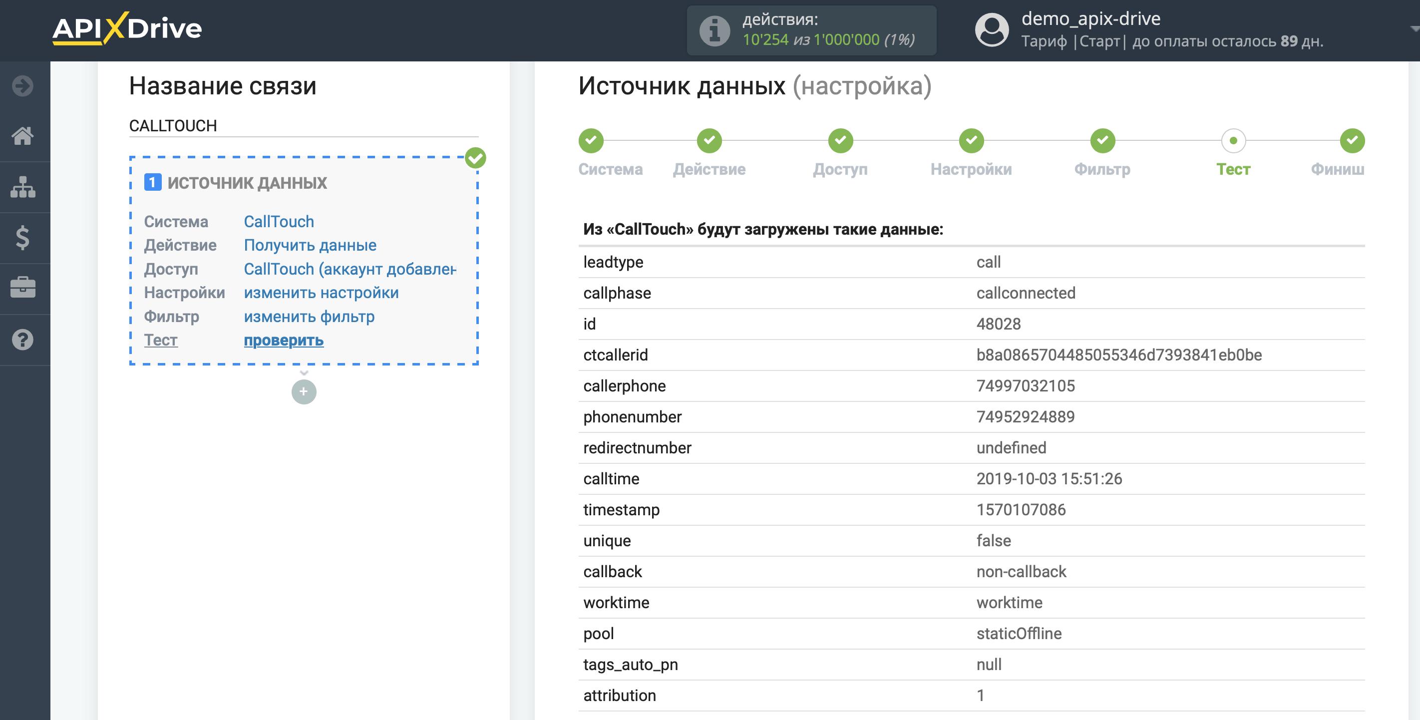 Список параметров, загруженных из CallTouch (1)