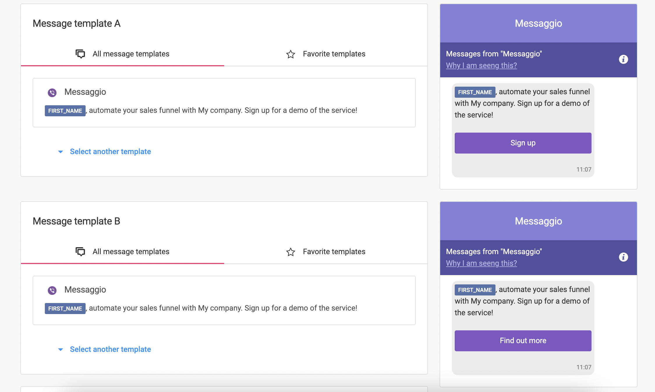 Specify templates for A/B testing