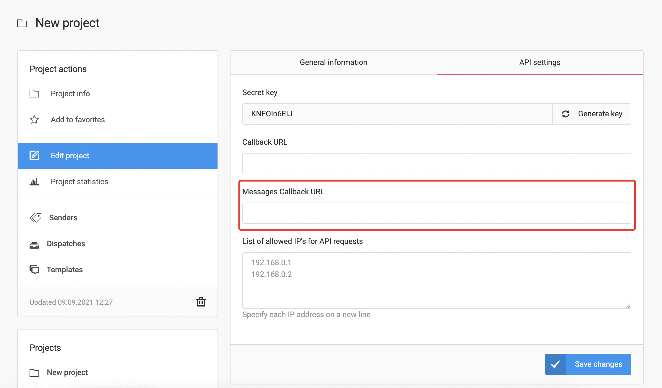 To receive incoming messages, specify the Callback URL in the project setting in Messaggio